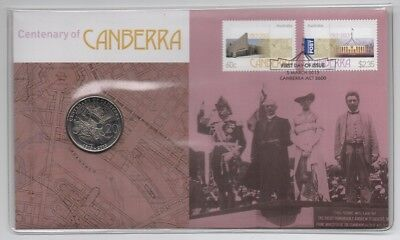2013 (3) Pnc: Centenary Of The City Of Canberra With 20 Cent Unc Coin & 2 Stamps