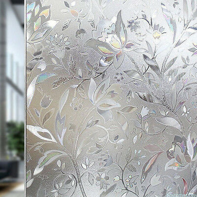 Privacy Static Cling Cover 3D Floral Frosted Window Glass Film Home Decor MGR5