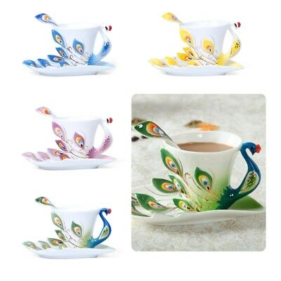 Peacock Porcelain Coffee Cup Set / Tea Cup Set for Use Daily and Wedding Present