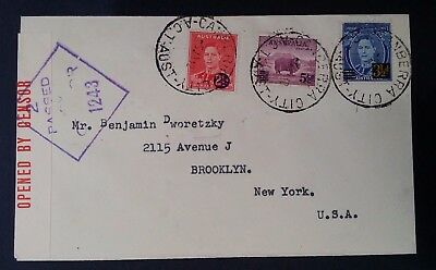 1942- Australia Cover ties 3 x War surcharge stamps from Canberra city to NY