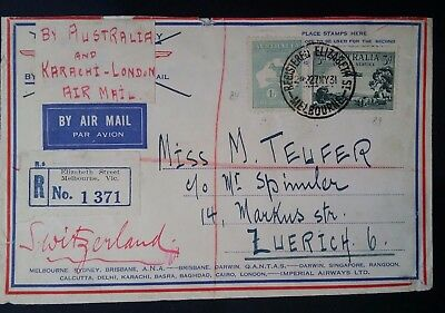 1931- Australia Cover Air Mail cover from Melbourne to Switzerland