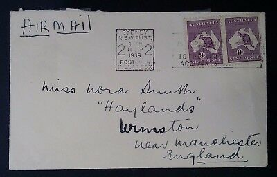 1939- Australia Pair of 9 d Violet Kangaroo Stamps on cover to England