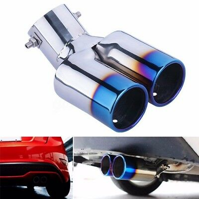 Universal Twin Dual Stainless Steel Grilled Blue Exhaust Muffler Tail Tip Pipes