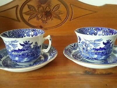 Vintage Burleighware Blue Willow cup & saucer pair gold trim