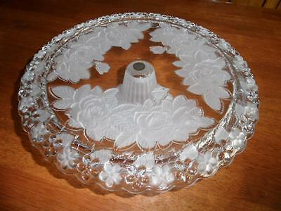 Vintage Soga Glass Ornate Floral Roses Footed Wedding Cake High Tea Party Stand