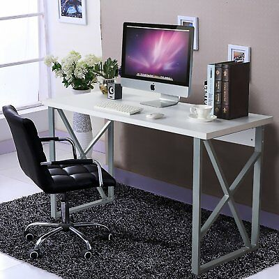 Modern Luxe Home Office Computer Desk Table with metal frame/MDF board White