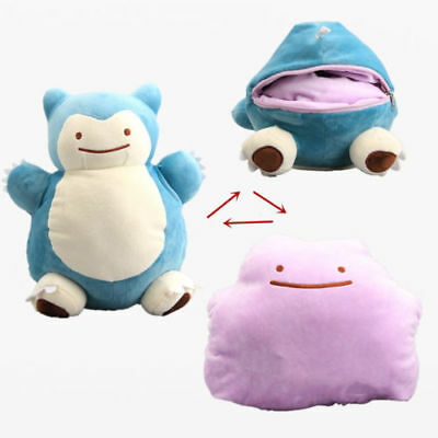 Hot 12'' Pokemon Snorlax Ditto Metamon Inside-Out Cushion Plush Bag Purse Figure