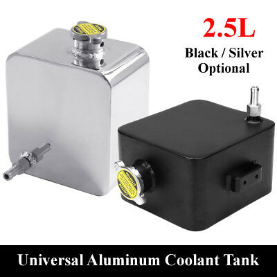 Universal Polished 2.5L Aluminum Radiator Coolant Overflow Tank Water Bottle