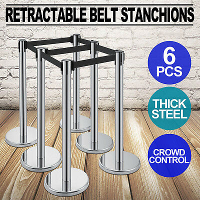 6X Retractable Belt Stanchion Crowd Control Stainless Steel 3 Sets Queue Line