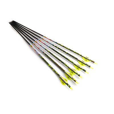 "6PCS 30"" 7.6mm Outdoor Hunting Shooting Carbon Arrows Archery"
