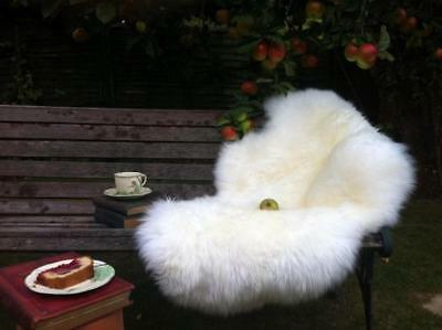 Real sheepskin rug ivory white 100% genuine natural thick shaggy soft dense wool
