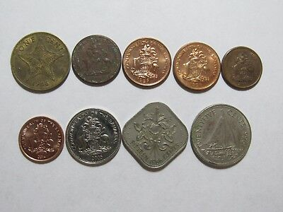 Lot of 9 Different Bahamas Coins - 1966 to 2014 - Circulated & Brilliant Unc.