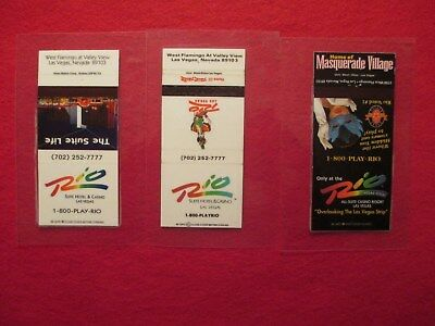 Las Vegas Rio Hotel and Casino Matchbooks Covers - Lot of 3 - Laminated
