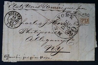 RARE 1851 France Folded Letter from Doullens to New York via Havre