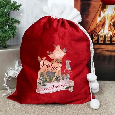 Personalised Red Luxury Christmas Xmas Present Sacks, 10 Designs, Santa Deluxe