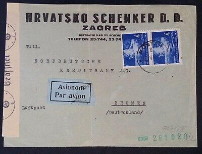 SCARCE 1942 Croatia Airmail Censor Cover ties 2 stamps canc Mostar to Bremen