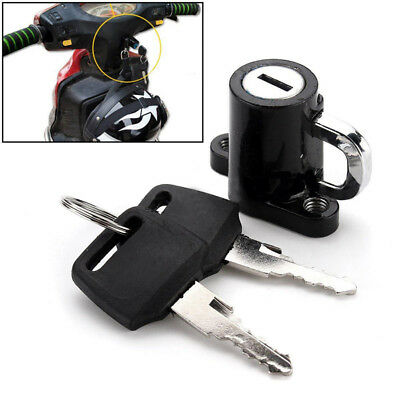 Universal Motorcycle Motorbike Bike Helmet Lock Hanger Hook Safety 2 Key Secure