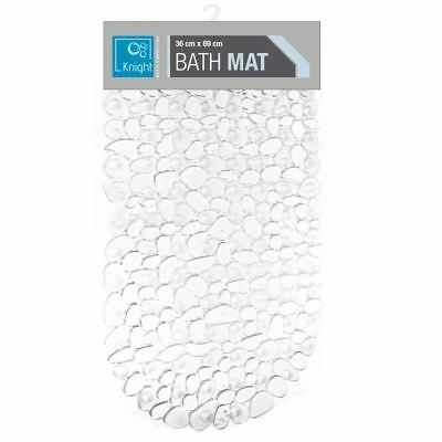 Clear High Quality Bath Shower Mat Large Strong Suction Anti Non Slip Pebble