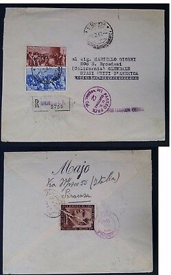 """SCARCE 1947 Italy Registd Cover ties 3 stamps canc Siracusa """"Passed US Customs"""""""