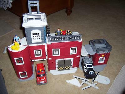 Fisher Price Imaginext Build Playset Rescue Center Firetruck Police Car Matchbox