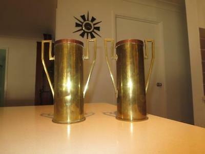 Pair Of Ww1 Trench Art Artillery Shell Vases 1909 & 1917