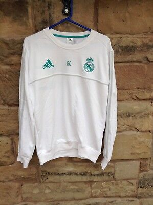 Brand New With Tags Real Madrid FC 2017/18 Adidas Sweat Top Medium White