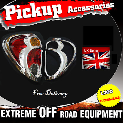 Mitsubishi L200 2005-2015 CHROME REAR TAIL LIGHT LAMP COVERS TRIMS SURROUNDS