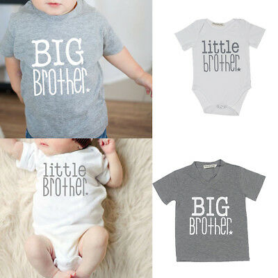Newborn Baby Little Brother Boy Romper Big Brother White T-shirt Clothes Outfits