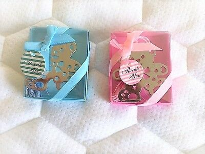 Blue Pink Metal Teddy Bear Bookmark New Baby Boy Girl Christening Gift