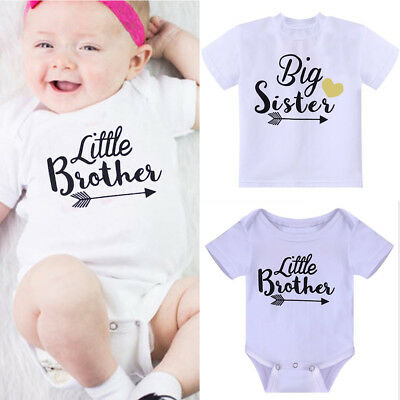 Newborn Baby Little Brother Boy Romper Big Sister White T-shirt Clothes Outfits
