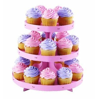 Wilton PINK Cupcake Treat Stand with borders