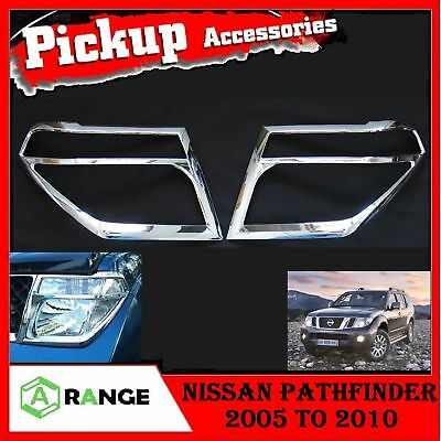 Nissan Pathfinder 2005-2010 CHROME FRONT HEAD LIGHT LAMP COVERS TRIMS SURROUND