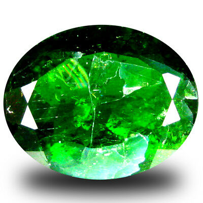 6.04 ct  Super-Excellent Oval Shape (14 x 11 mm) Green Chrome Diopside Gemstone