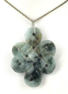 Genuine Chinese Jade Celtic Design Pendant With Gold Plated Chain
