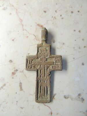 Antique  Late Medieval Bronze Cross Pendant With Engravings And Inscriptions