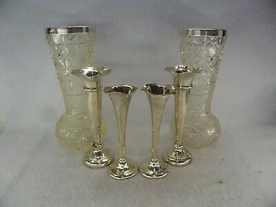 Job Lot of 6 Solid Silver Vases for Scrap or Resale