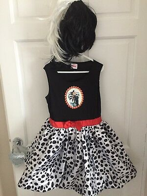 cruella de ville fancy dress Halloween Party Girls Age 5-6 Disney 101 Dalamation