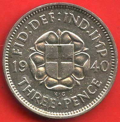 1940 Great Britain 3 Pence Silver Coin ( 1.41 Grams .500 Silver )