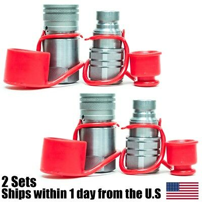 """1/2"""" NPT Skid Steer Bobcat Flat Face Hydraulic Quick Connect Couplers 2 Sets"""