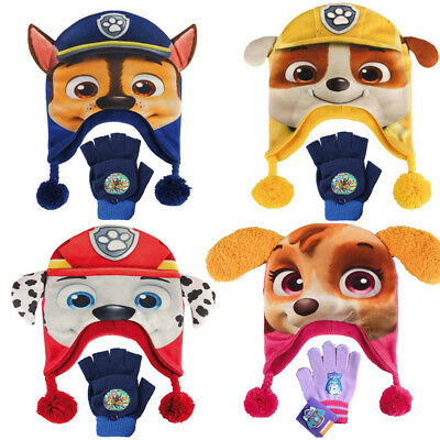 New Paw Patrol 3D Face Boys Girls Beanie Bobble Winter Hat with Gloves