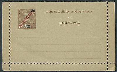 Capo Verde 50c Carlos REPLY PAID lettercard overprinted REPUBLICA mint