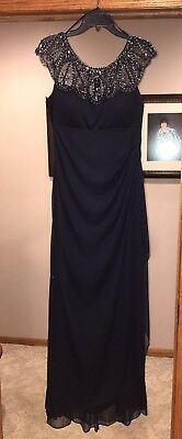Beautiful Mother Of The Bride/Groom Long Navy Dress Size 14
