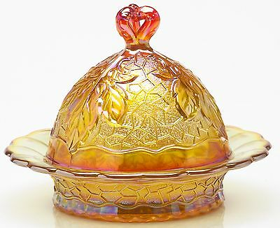 Butterdish - Maple Leaf - Marigold Carnival Glass - Mosser USA