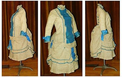 Antique RARE Victorian 1870's Dupioni SILK BUSTLE Girl's Child's DRESS GOWN