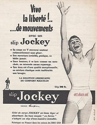 1951 - SLIP JOCKEY  underwear  ad Vintage Advertising - 4j