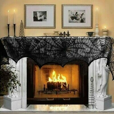 Large Black Lace Spider Cloth Design  Halloween Fancy Dress Party Decoration