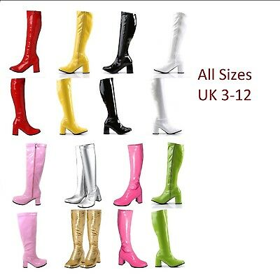 LADIES WOMENS KNEE HIGH FANCY PARTY GO GO BOOTS 60s 70s RETRO Size UK 3-12