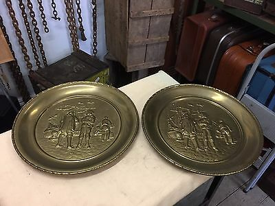 2x Vintage Pressed brass Ships Hanging wall Display plaques Plates Trays LARGE