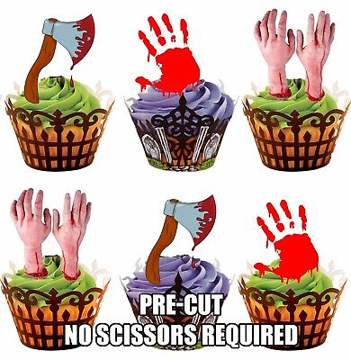 PRE-CUT Halloween Horror / Blood Axe Edible Cupcake Toppers Cake Decorations