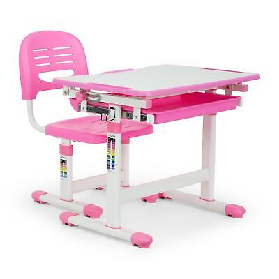 Children's Desk Set 2pcs. Table Chair Height Adjustable Pink Study Draw Drawer